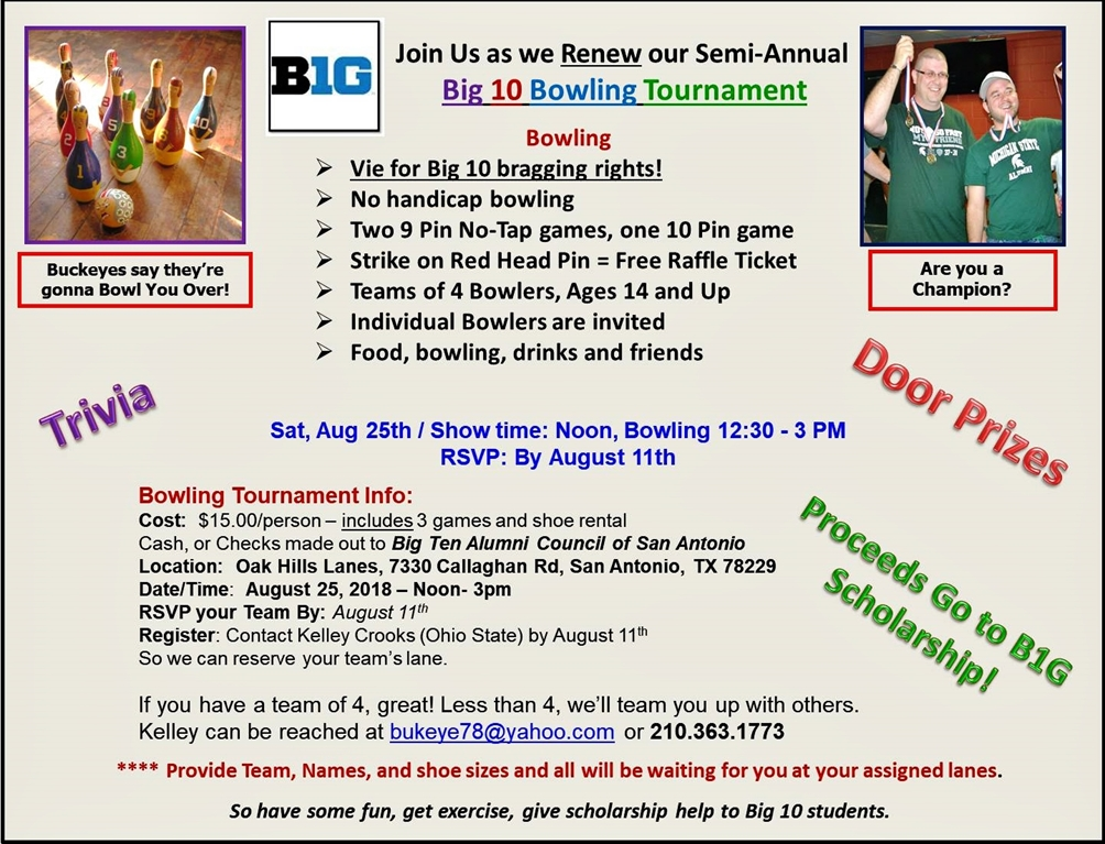 Texas Spartans San Antonio Big 10 Bowling Tournament